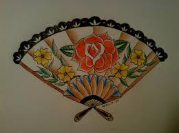 rose on a fan tattoo flash by miss aprilia on deviantart