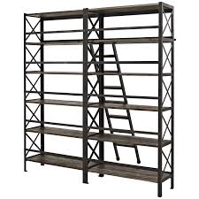 Industrial Bookcase With Ladder by Amazon Com Modway Headway Wood Bookshelf In Brown Kitchen U0026 Dining