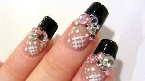 japanese style rhinestone design in pink silver and black nail