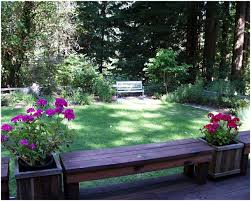 backyards beautiful corner bench backless bookended by boxed