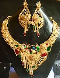 necklace with earrings set images 22k gold plated meenakari peacock south indian wedding necklace jpg