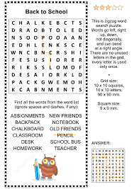 back to zigzag word search puzzle free printable puzzle games