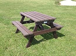 recycled plastic picnic tables picnic table brown 100 recycled plastic amazon co uk garden