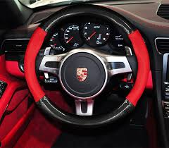Panamera Red Interior Genuine Leather Carbon Fiber Style Car Steering Wheel Cover For