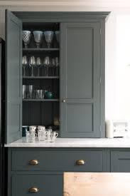 Charcoal Grey Kitchen Cabinets Gray Kitchen Cabinets Brass Hardware Herringbone Floor