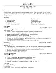 Resume Examples For Hospitality by Best Franchise Owner Resume Example Livecareer