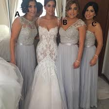 of honor dresses silver chiffon bridesmaid dresses cheap a line beaded lace