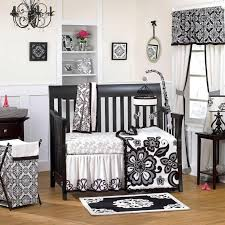 Fancy Crib Bedding 5pc Black White Fancy Floral Flower Patterned Baby Crib