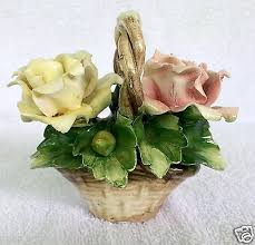 capodimonte basket of roses nuova capodimonte pink yellow roses flower basket bouquet what s