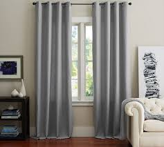 How To Hang Pottery Barn Curtains Emery Linen Cotton Grommet Drape Pottery Barn