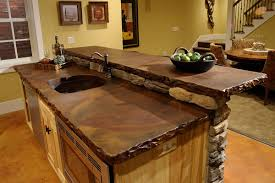rustic kitchen design and decoration using dark brown stone