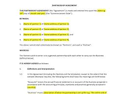 partnership agreement template u2013 uk template agreements and sample
