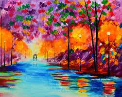 couple paintings love rain park light rainy night purple