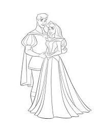 coloriage aurore et son prince charmant