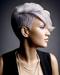 coloring pixie haircut half shaved pixie hairstyle with grey and pink colouring hair love