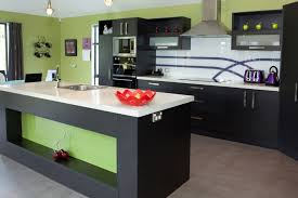 kitchen green wall with black kitchen cabinets modern style and