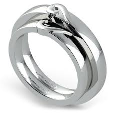White Gold Wedding Ring Sets by Matching Curled Heart Wedding Ring Set In White Gold