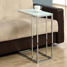 Glass Sofa Table Modern Sofa Side Snack Table Modern End Accent White Chrome Glass Top