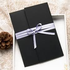 Pocket Wedding Invitations Romantic Purple Watercolor Satin Ribbon Pocket Wedding Invitations