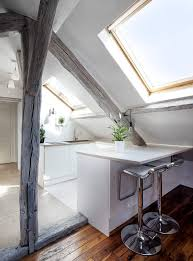 attic kitchen ideas 60 sqm modern attic apartment design idea with white grey interior