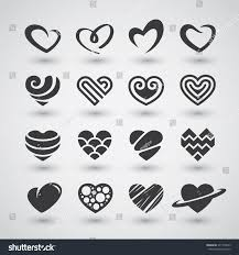 set black heart icons logos signs stock vector 371740543