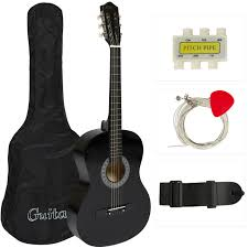 new beginners acoustic guitar w guitar case strap tuner and