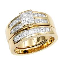 engagement rings and wedding band sets gold 2 carat princess cut diamond engagement ring wedding band set