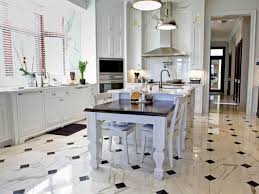 black white marble flooring for kitchen design with dining table