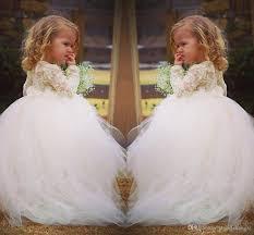 vintage lace flower dresses long sleeves princess jewel lace
