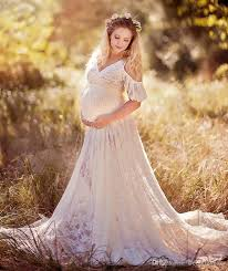 chic lace maternity dresses for photo shoot with sleeves split