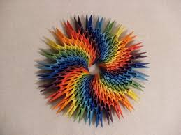 3d origami round rainbow decoration how to make instruction