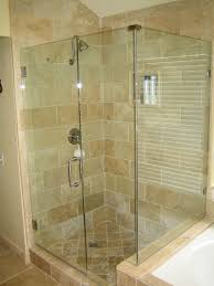 bathroom frameless shower doors matched with khaki ceramics wall
