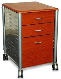 Three Drawer File Cabinet by Modern 3 Drawer Filing Cabinet With Casters Cherry Wood Finish