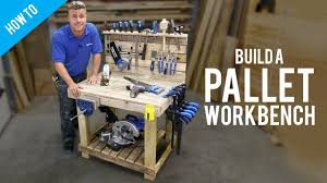 diy pallet work table how to make a diy workbench with pallets youtube