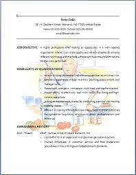 Chef Resume Objective Entry Level Chef Resumes Huanyii Com