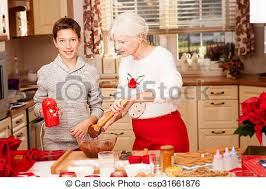 cuisine grand mere grand mère noël cuisine petit enfant biscuits image