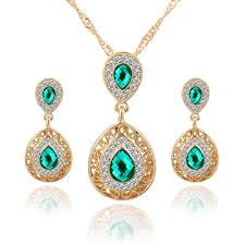 crystal drop pendant necklace images Sharp crystal pendant earring necklace set jpg