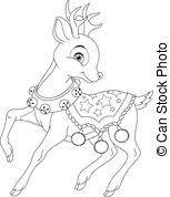 eps vector christmas reindeer coloring black white