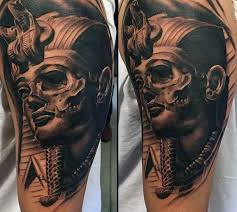 skull king tut mens masculine half sleeve tattoo design ideas with