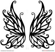 black tribal butterfly wings stencil