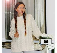 irish aran fishermans sweater for women by citizen cashmere