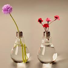 Modern Glass Vase Light Bulb Glass Vase Terrarium Vases Cute Flower Pots Tabletop