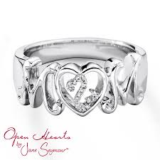 silver mothers ring open hearts ring diamond accent sterling silver