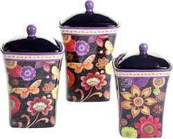 3 piece ceramic canister set kitchen counter coffee food storage