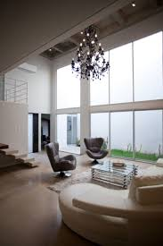 trendy interior with living room high ceiling design also
