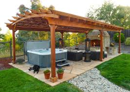great modern enclosed backyard gazebo design with wooden posts and