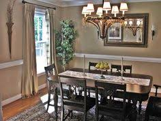 two tone dining room with chair rail light color above dark