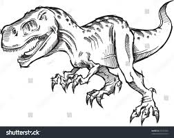 tyrannosaurus dinosaur sketch doodle vector illustration stock