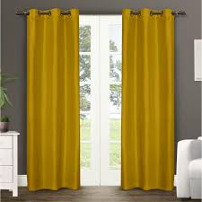 Yellow Faux Silk Curtains Dupioni Mustard Vibrant Faux Silk Grommet Top Window Curtain