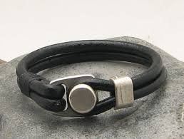 men black leather bracelet images Mens leather bracelet eliziatelye artfire shop jpg